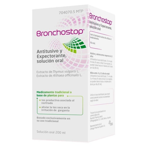 BRONCHOSTOP ANTITUSIVO Y EXPECTORANTE SOLUCION ORAL , 1 frasco de 200 ml