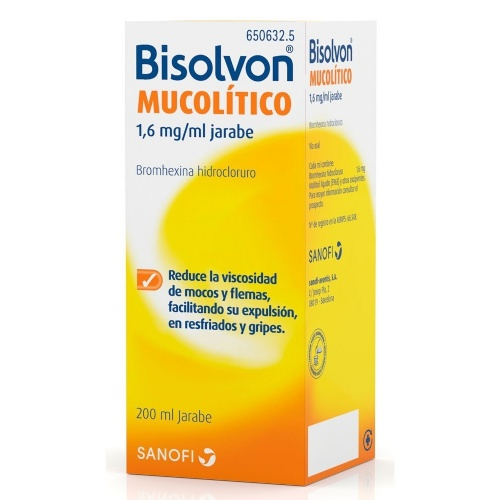 BISOLVON MUCOLITICO 1,6 mg/ ml JARABE, 1 frasco de 200 ml